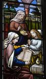 Woman Reading the Bible, Another Tending to a Sick Girl: The Good Shepherd with Women Performing Acts of Mercy