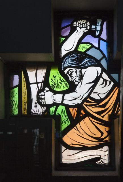 Christ's Feet are Nailed to the Cross    from    Set of Windows Depicting Scenes from the Passion