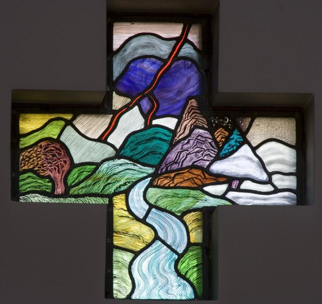 Landscape with a River and Hills    from    Set of Windows Depicting the Creation