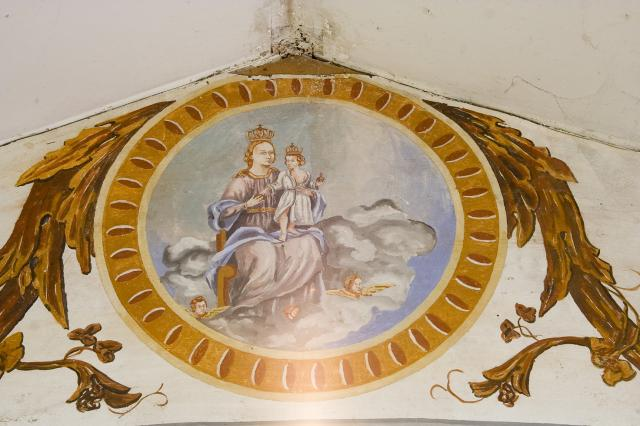 Crowned Virgin and Child Seated on the Clouds with Cherubim    from    Roundels on the Roof Beams