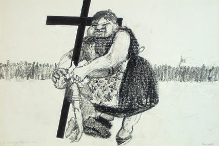 Saint Veronica wipes His Face    from    Stations of the Cross