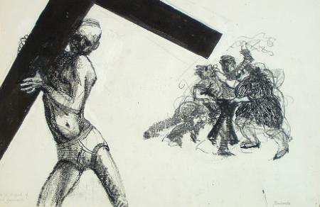 He is stripped of His garments    from    Stations of the Cross