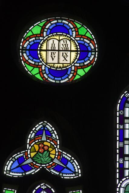 The Ten Commandments    detail from    St David with St Cecilia and Virgin and Child