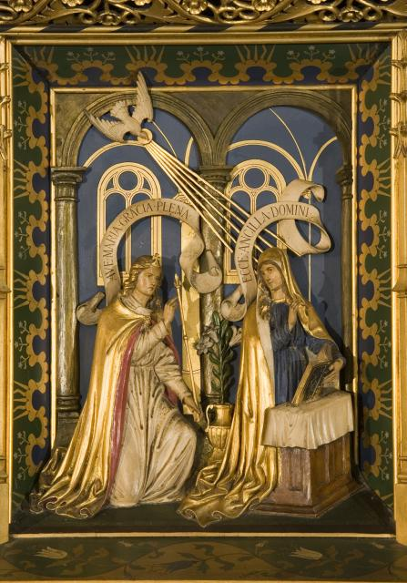 The Annunciation    detail from    Christ in Majesty with Welsh Saints
