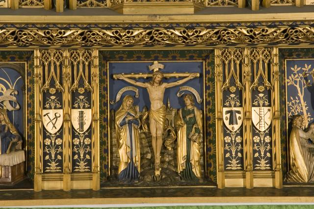 The Crucifixion with Instruments of the Passion    detail from    Christ in Majesty with Welsh Saints