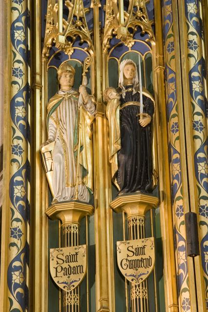St Padarn and St Winefride    detail from    Christ in Majesty with Welsh Saints