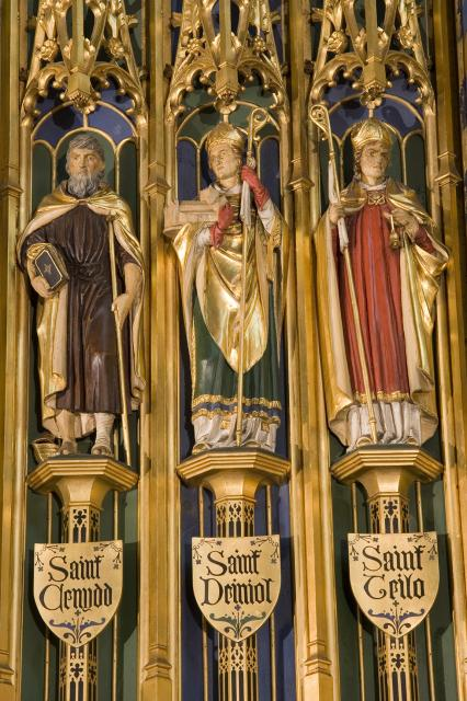 St Cenydd, St Deiniol and St Teilo    detail from    Christ in Majesty with Welsh Saints
