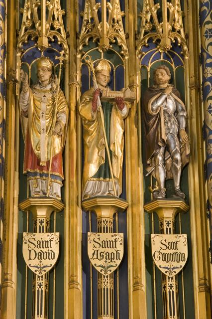 St David, St Asaph and St Gwynllyw    detail from    Christ in Majesty with Welsh Saints