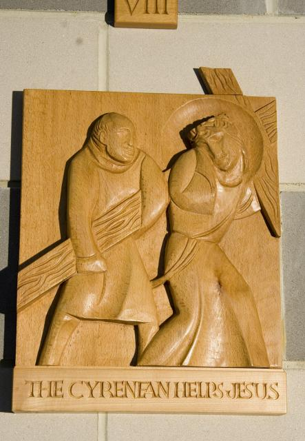 The Cyrenean Helps Jesus    from    Stations of the Cross
