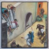 A Paralytic is Lowered Down in the House Where Christ is Teaching