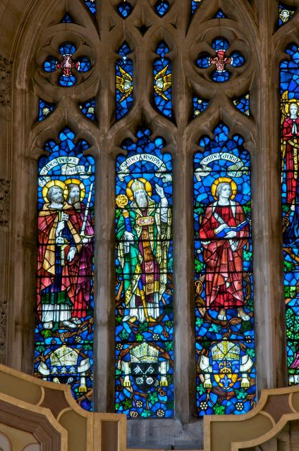 St Peter, St Paul, St Asaph and St John the Apostle    detail from    The Risen Christ with the Virgin Mary, St John the Baptist and Saints