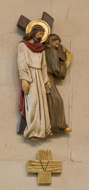 Simon of Cyrene Carries the Cross    from    Stations of the Cross