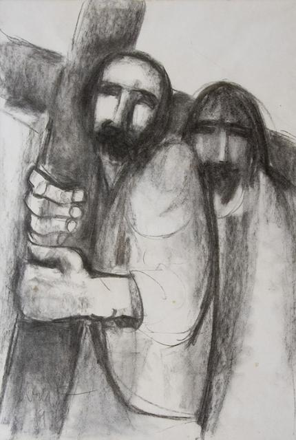 Simon of Cyrene is Compelled to Carry the Cross    from    Stations of the Cross