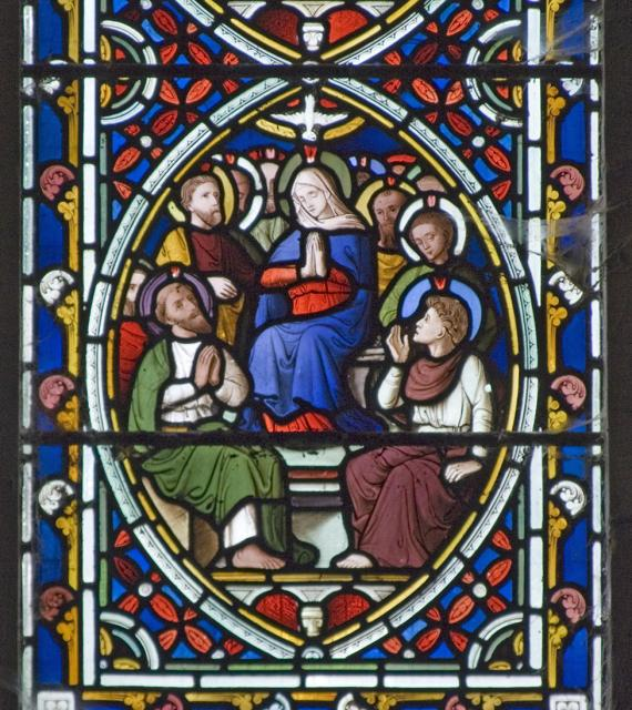 The Virgin Mary with the Apostles at Pentecost    detail from    Scenes from the Passion and Resurrection of Christ, and the Acts of the Apostles