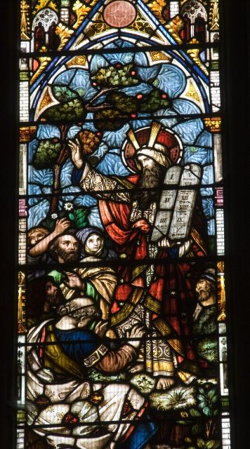 Moses with the Ten Commandments    detail from    Christ in Majesty with Scenes from the Bible