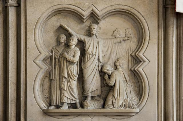 Pulpit with the Commission to the Apostles and John the Baptist Preaching