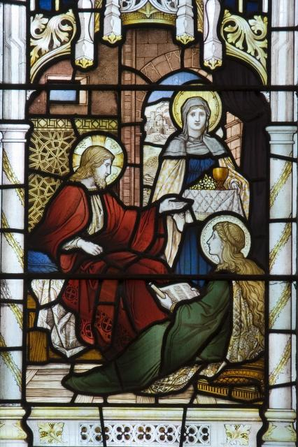 Christ in the House of Mary and Martha    detail from    The Virgin Mary with Mary of Bethany and Mary Magdalene
