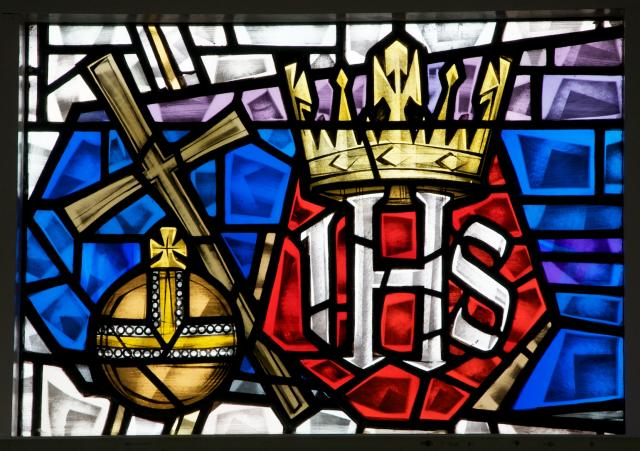 Monogram of Christ with Crown, Orb and Cross    detail from    Sanctuary Windows