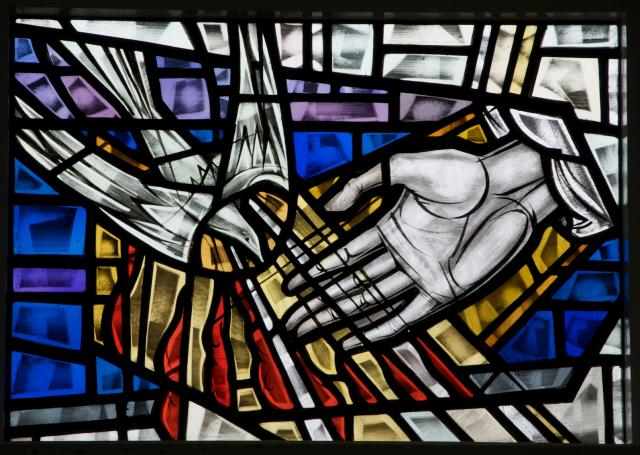 Dove of the Holy Spirit and the Hand of God    detail from    Sanctuary Windows