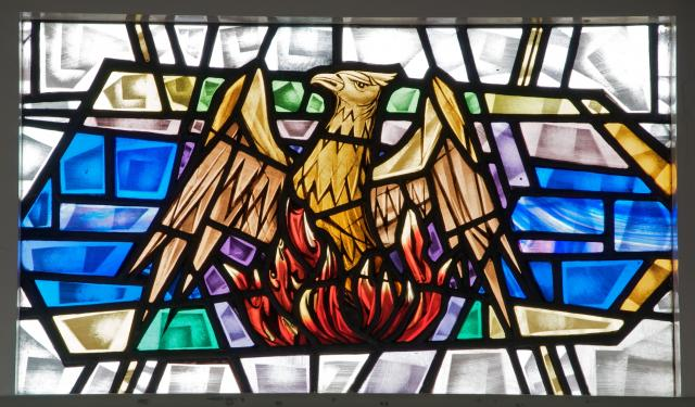 Phoenix Rising from the Flames    detail from    Sanctuary Windows