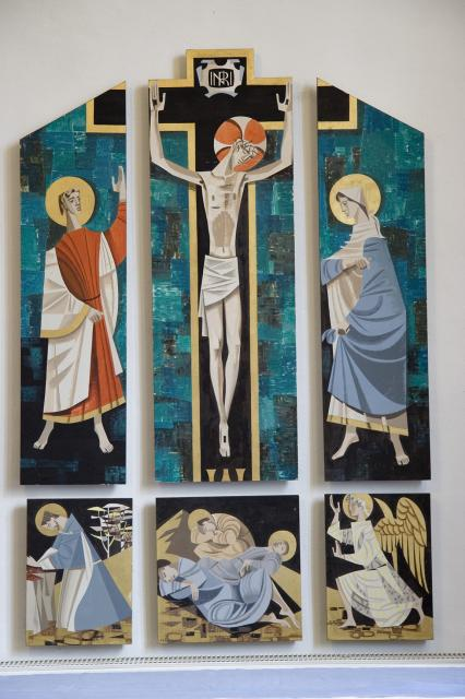The Crucifixion with Mary and John, and Scenes from Gethsemane