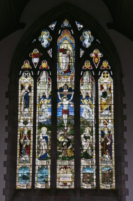 The Crucifixion with Virgin Mary, St John and St Mary Magdalene, and Welsh Saints