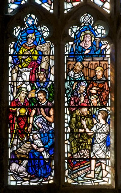 The Adoration of the Magi and Christ Among the Doctors    detail from    Scenes from the Life of Christ with Apostles and Archangels