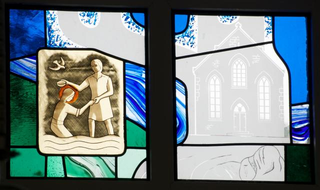 The Baptism of Christ and Cenarth Chapel    detail from    Scenes from the Bible with Local Scenes