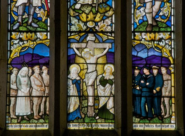 The Crucifixion with the Virgin Mary, St John and Servicemen    detail from    The Risen Christ with Soldiers