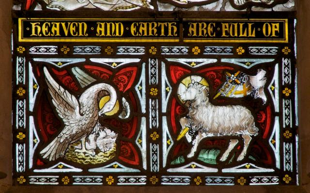 Pelican in Her Piety and Agnus Dei    detail from    Christ in Majesty with Saints and Angels