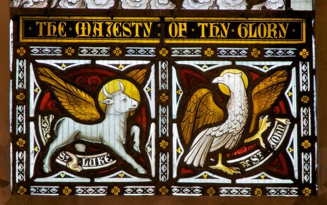 Symbols of St Luke and St John    detail from    Christ in Majesty with Saints and Angels