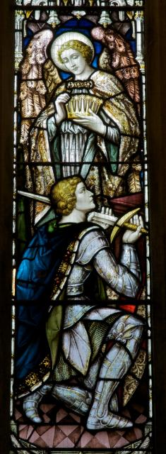 Kneeling Knight with an Angel    detail from    Receiving the Crown of Life with St George and St Martin
