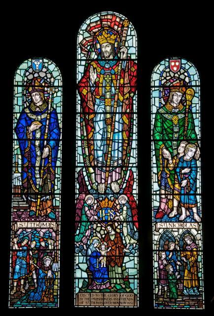 Christ in Majesty with St Thomas Becket and St Nicholas