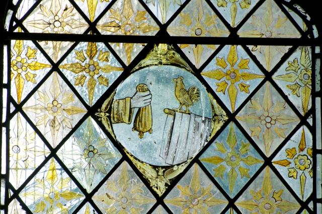 Judas' Money Bag and Cockerel    detail from    The Crucifixion with the Virgin Mary and St John