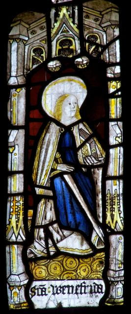St Winefride    detail from    The Crucifixion with Panels from the Seven Sacraments