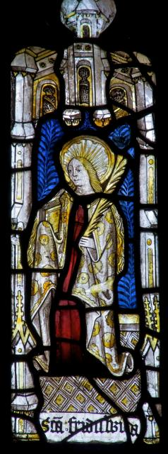St Frideswide    detail from    The Crucifixion with Panels from the Seven Sacraments