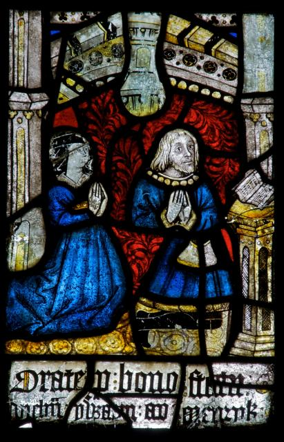 Meurig ap Llywelyn ap Hwlcyn and Marged ferch Ifan Fychan    detail from    The Crucifixion with the Virgin Mary and St John