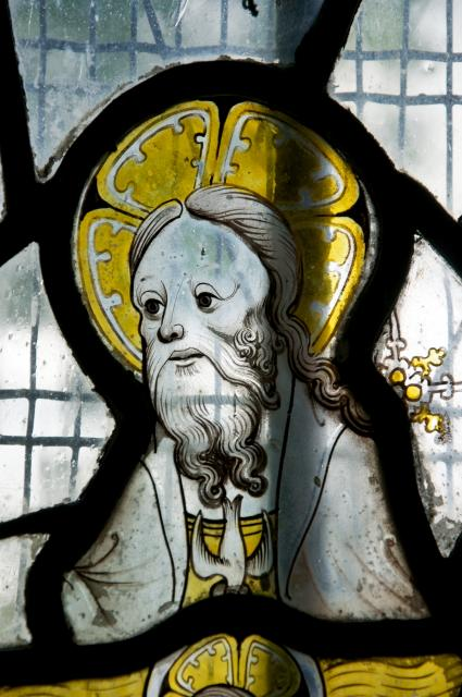 God the Father with the Dove of the Holy Spirit    detail from    Medieval Fragments including the Holy Trinity