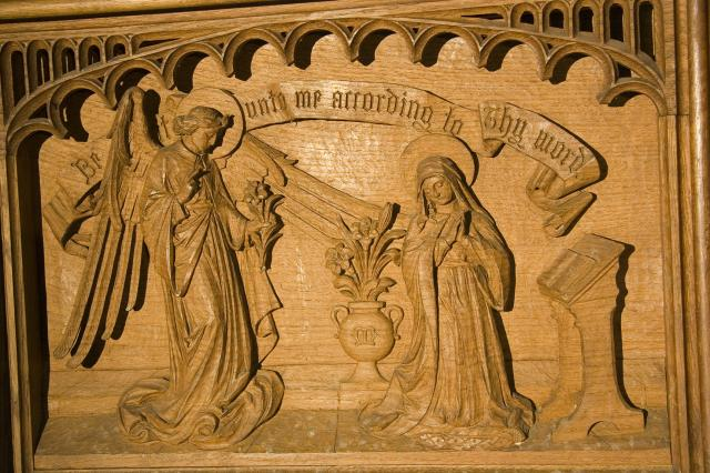 The Annunciation    detail from    The Virgin and Child with Annunciation, Visitation, Baptism of Christ and Resurrection