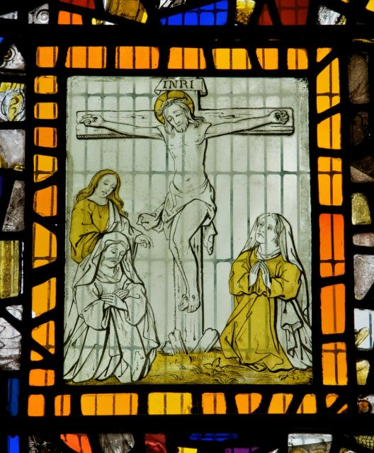 The Crucifixion with the Virgin Mary, St John and Mary Magdalene    detail from    Glass Fragments