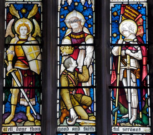 A Fallen Soldier Received by Christ with St Michael and St George