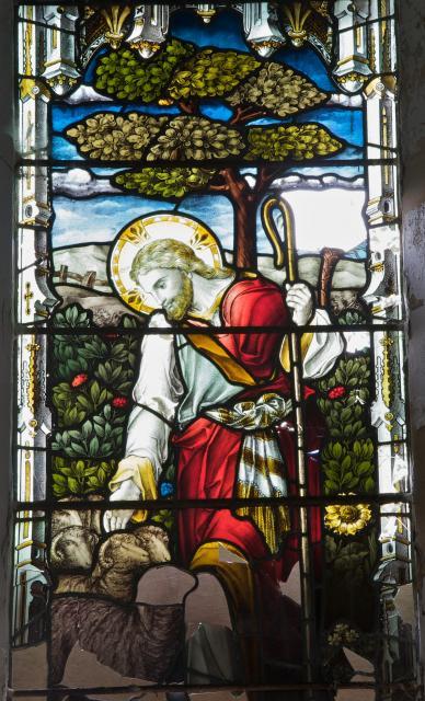 Christ the Good Shepherd    detail from    The Risen Christ, Christ the Light of the World and Christ the Good Shepherd
