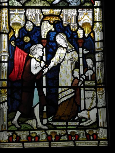 Giving Shelter to a Stranger    detail from    Christ in Majesty with Acts of Mercy
