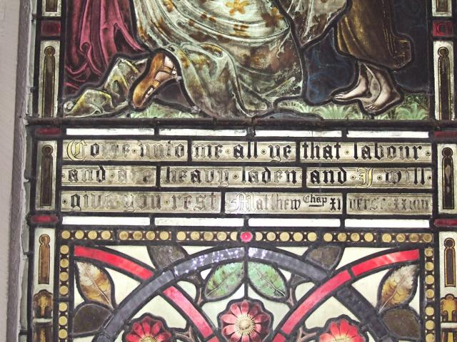 Text    detail from   Come unto me all ye that labour and are heavy laden and I will give you rest