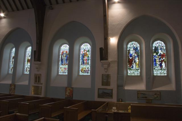 Windows along the north wall of the nave    from    Clothing the Naked and Feeding the Hungry