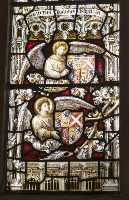Angels with Heraldry    detail from    Christ the Good Shepherd with St John the Baptist and St John the Evangelist