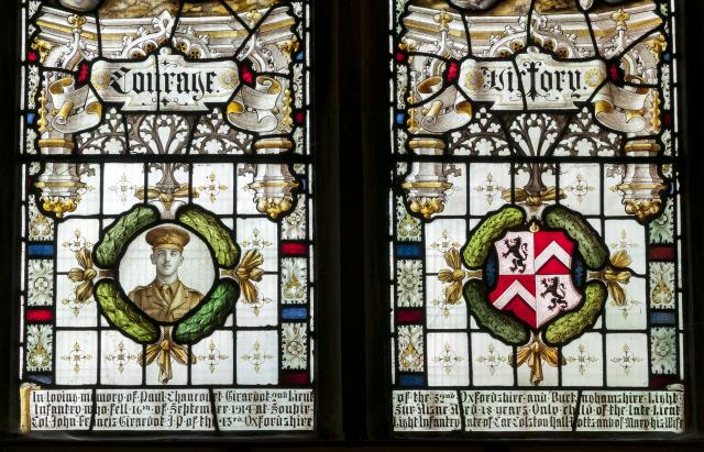 Portrait of Paul Girardot and Heraldry    detail from    Courage and Victory