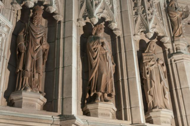 St Deiniol, St Illtud and St Hilda    detail from    The Crucifixion with Saints