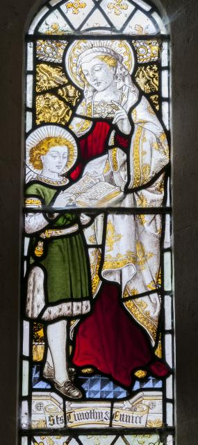 St Eunice Teaching St Timothy    detail from    St Cecilia and St Eunice Teaching St Timothy