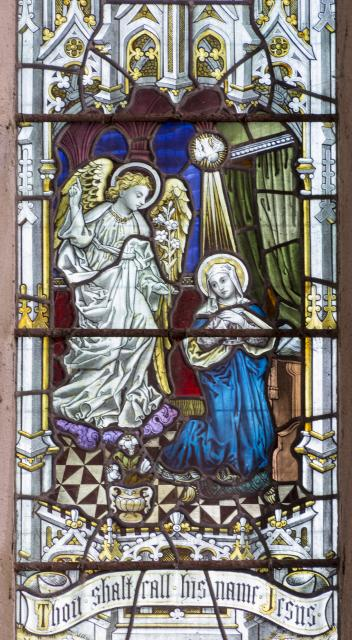The Annunciation    detail from    The Crucifixion with the Virgin Mary, St John and St Mary Magdalene